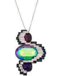 Swarovski - Palladium Plated Supernova Crystal Pendant Necklace - Lyst