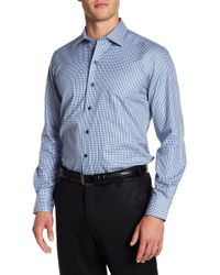 David Donahue - Check Print Regular Fit Shirt - Lyst