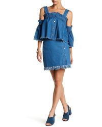 English Factory - Front Button Denim Wrap Skirt - Lyst