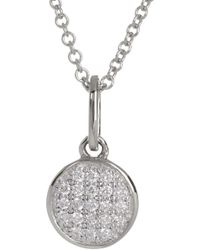 Bony Levy - 18k White Gold Pave Diamond Circle Pendant Necklace - 0.06 Ctw - Lyst