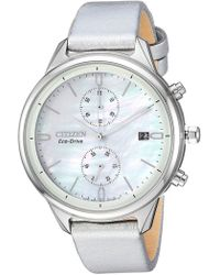 Citizen - Women's Pearl Chronograph Silver Leather Watch, 39mm - Lyst