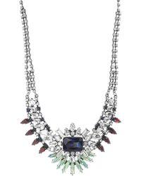 Steve Madden - Multi-colored Crystal Bib Necklace - Lyst