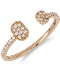 Bony Levy - 18k Rose Gold Pave Diamond Geometric Open Cuff Ring - Lyst