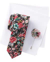 Original Penguin - Tibbitt Floral Tie, Pocket Square, & Lapel Pin Set - Lyst