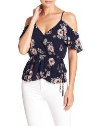 Cupcakes And Cashmere - Adia Cold Shoulder Tie Waist Floral Blouse - Lyst