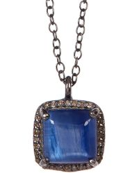 Adornia - Kyanite Diamond Halo Pendant Mini Zora Necklace - 0.50 Ctw - Lyst