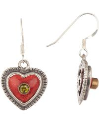 Peyote Bird - Sterling Silver Coral Heart With Peridot Stud Earrings - Lyst