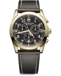 Victorinox - Men's Infantry Chronograph Leather Strap Watch, 40mm - Lyst