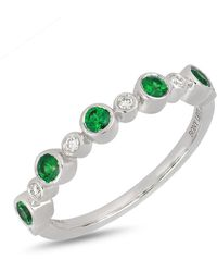 Bony Levy - 18k White Gold Bezel Set Emerald & Diamond Ring - Lyst