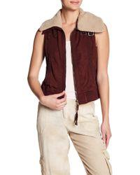 Marrakech - Torin Faux Fur Collar Twill Zip Up Vest - Lyst