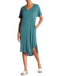 Lush - V-neck Cupro Dress - Lyst