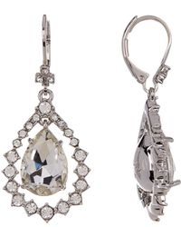 Marchesa - Crystal Accented Pear Drop Earrings - Lyst