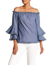 Eci - Off-the-shoulder Bell Sleeve Stripe Print Blouse - Lyst