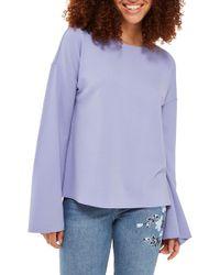 TOPSHOP - Split Back Bell Sleeve Sweatshirt - Lyst