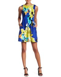 Vince Camuto - Floral Pleated Pocket Dress (petite) - Lyst