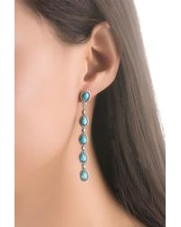 Relios - Sterling Silver Dangling Turquoise Linear Earrings - Lyst