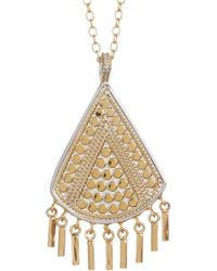 Anna Beck - 18k Gold Plated Sterling Silver Triangle Fringe Pendant Necklace - Lyst