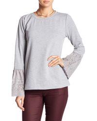 Bobeau - Eyelet Bell Sleeve Sweatshirt - Lyst