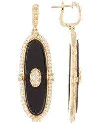 Judith Ripka - 14k Gold Plated Sterling Silver Westport Elongated Oval Slice Dangle Earrings - Lyst