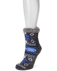 Muk Luks - Pieced Faux Fur Lined Cabin Socks - Pack Of 1 - Lyst