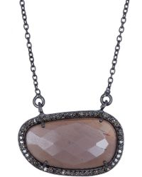 Adornia Rose Cut Sliced Chocolate Moonstone Pendant Necklace - Brown