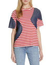 CLU Stripe Mixed Media Tee - Red