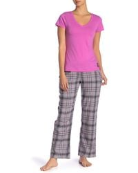 Psycho Bunny - Plaid Flannel Pajama 2-piece Set - Lyst
