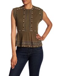 French Connection - Adanna Embroidered Crinkle Tank - Lyst