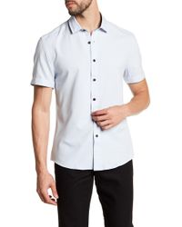 Vince Camuto - Check Short Sleeve Trim Fit Sport Shirt - Lyst