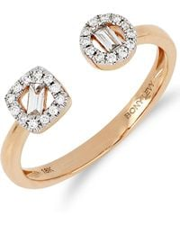 Bony Levy - 18k Rose Gold Baguette & Round Diamond Open Cuff Ring - Lyst