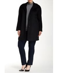 Ellen Tracy - Classic Wool Blend Angora Coat (plus Size) - Lyst
