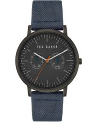 Ted Baker - Men's Brit Leather Strap Watch, 40mm - Lyst