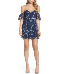 Bardot - Sapphire Lace Off The Shoulder Dress - Lyst