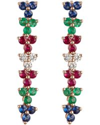 EF Collection - 14k Rose Gold Triple Cluster Multi-color Diamond Drop Earrings - 0.18 Ctw - Lyst