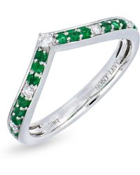 Bony Levy - 18k White Gold Channel Set Diamond & Emerald Chevron Ring - 0.09 Ctw - Lyst
