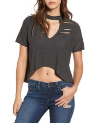 Missguided - Distressed Choker Tee - Lyst