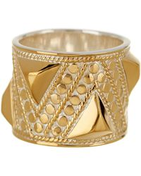 Anna Beck - 18k Gold Plated Sterling Silver Geo Textured Band Ring - Lyst