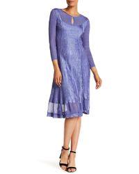 Komarov - 3/4 Length Sleeve Keyhole Dress - Lyst