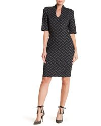 Connected Apparel | Textured Short Sleeve Dress | Lyst