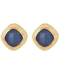 Anna Beck - 18k Gold Plated Sterling Silver Sapphire Cushion Stud Earrings - Lyst