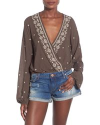 Chloe & Katie - Embroidered Surplice Blouse - Lyst