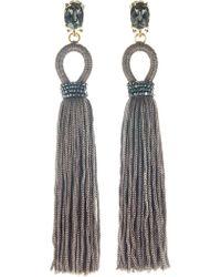 Oscar de la Renta - Long Embellished Tassel Clip On Earrings - Lyst