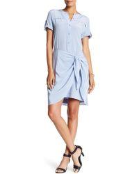 Acrobat - Short Sleeve Back Panel Silk Dress - Lyst