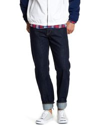 Lands' End - Straight Fit Button Fly 5 Pocket Jeans - Lyst