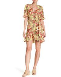 Haute Rogue - Ruffled Tropical Wrap Dress - Lyst