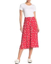 Lush - Front Button Floral Print Midi Skirt - Lyst