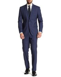 Kenneth Cole - Windowpane Two Button Notch Lapel Wool Suit - Lyst