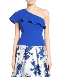 Eliza J - Ruffle One Shoulder Crepe Top - Lyst
