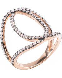 CZ by Kenneth Jay Lane - Pave Cz Interlocking Circle Ring - Lyst