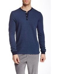 Bread & Boxers - Long Sleeve Thermal Henley Shirt - Lyst